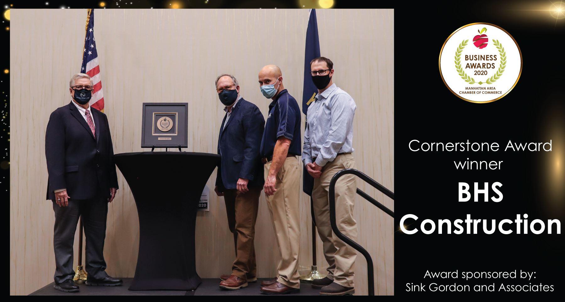BHS Construction Receiving Cornerstone Award